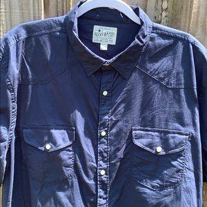 Men's short sleeve western shirt indigo xxl, snap